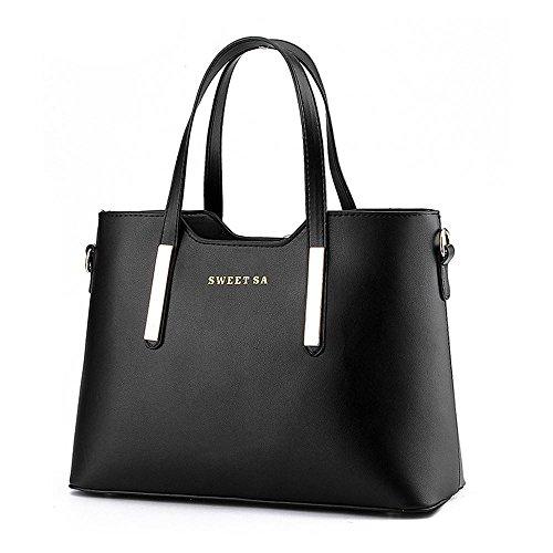 Blue Black Designer Large Shopper Women's Faux Sine90® Dark Bag Shoulder Leather Handbags Tote Ladies xwO76qFS