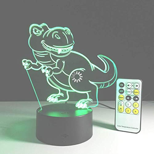 Buntes 3D Nachtlicht Dinosaur Lamp Kids Toys Usb 7 Color Change Led Light Illusion Usb Desk Lamp For Kid'S Weihnachten…