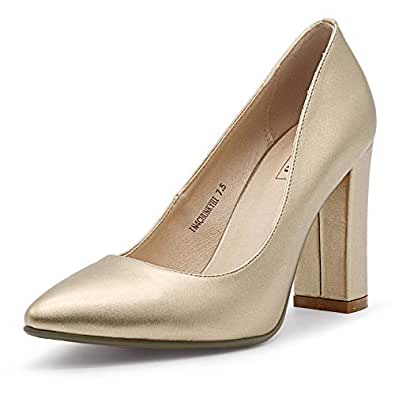 IDIFU Women's IN4 Chunky-HI Classic Closed Pointed Toe Pumps High Chunky Block Heels Dress Office Shoes Gold Size: 5