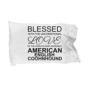 BarborasBoutique American English Coonhound Pillow Case - Blessed with the Unconditional Love - Cute Mom Dad Pillowcase Bedding Cushion Cover Gift Stuff Accessories Fo 1