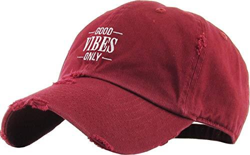 KBSV-128V BUR Good Vibes Only Dad Hat Embroidered Cotton Baseball Cap Adjustable