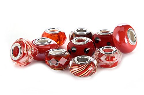 BRCbeads Top Quality 10Pcs Mix Silver Plate RED THEME Murano Lampwork European Glass Crystal Charms Beads Spacers Fit Troll Chamilia Carlo Biagi Zable Snake Chain Charm Bracelets. ()