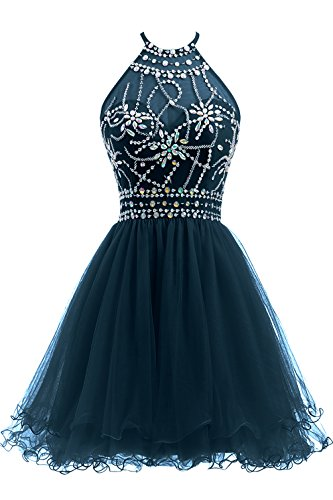 Homecoming Dress Teal (Ellames Women's Beaded Halter Homecoming Dress Short Tulle Prom Dress Teal US 8)