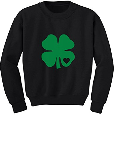 (TeeStars - Green Clover Heart St. Patrick's Irish Cute Shamrock Kids Sweatshirt 5/6 Black)