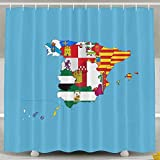 Flag-map Of Spain Fashion Shower Curtain Deluxe Waterproof Bath Curtain 60 x 72inch