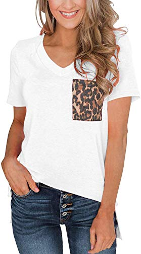 Womens Short Sleeves Casual Loose V Neck T Shirts Basic Tops Leopard and Sequin Pocket White L ()