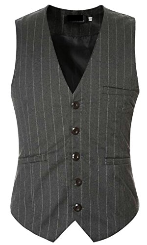 Neck Blazer Grey Waistcoat Stripe today UK V Mens Vest Jacket TCtT1qwK