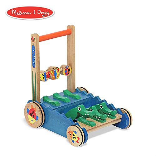 Melissa & Doug Chomp & Clack Alligator Push Toy, Wooden Activity Walker, Sturdy Construction, Makes Sounds When Pushed, 11.75″ H × 15″ W × 15″ L (Best Push Toys For Walking)