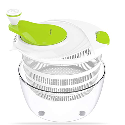 (LOVKITCHEN Salad Spinner, Plastic Kitchen Large 4 Quarts Fruits and Vegetables Dryer Quick Dry Design & Drain Lettuce and Vegetable (Green-White))