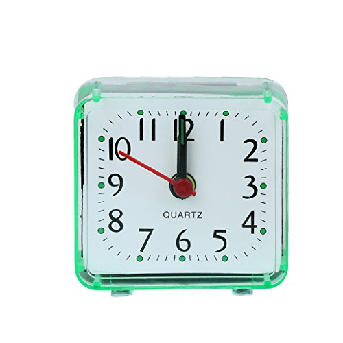 EA-STONE Modern Wall Clock,Square Crystal Mini Alarm Clock - Green Battery Operated for Home Living Room ()