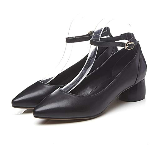 ZHZNVX Zapatos de Mujer Nappa Leather Spring & Summer Comfort Tacones Chunky Heel Blanco/Negro Black