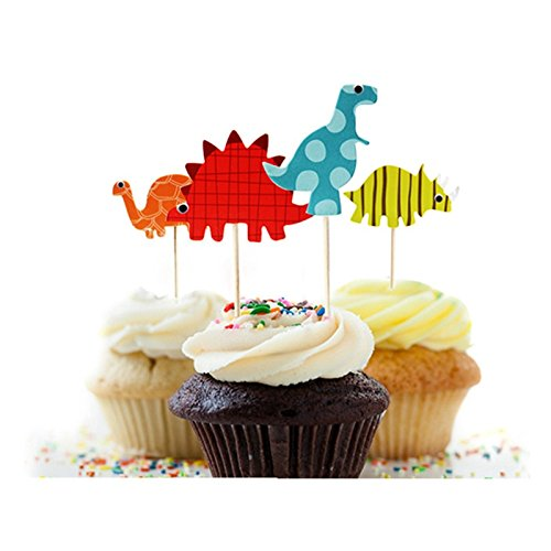 Dinosaur Cupcake Toppers- Quality (Set of 24 dinosaurs) by A Charming Galore