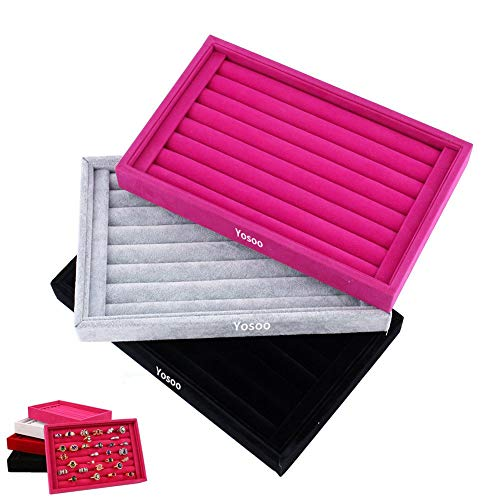 (Yosoo Ring Velvet Jewellery Display Box Cufflinks Storage Tray Case Holder Organizer (Red))