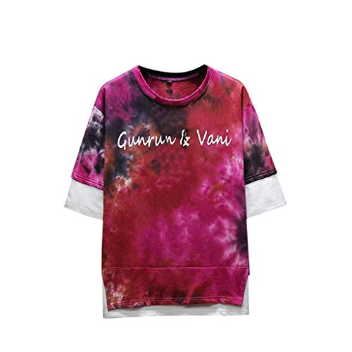 (iSovze Men's Summer Fashion Lovely Print Tie-dye Fake Two-Piece T-Shirt Tops)