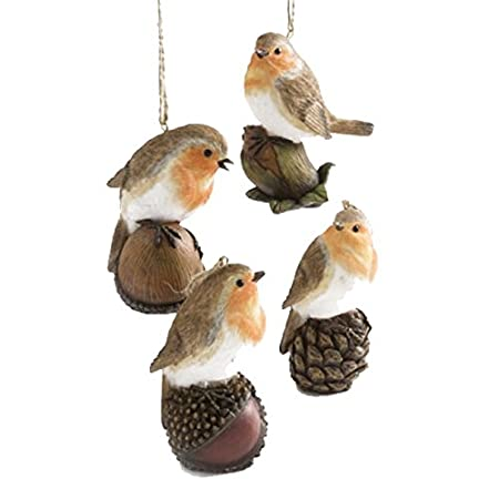 Set of 4 Traditional Robin Christmas Decorations (7cm): Amazon.co.uk:  Kitchen & Home - Set Of 4 Traditional Robin Christmas Decorations (7cm): Amazon.co.uk