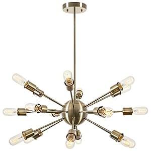 Light Society LS-C115-BRS Sputnik Style Chandelier, Brass