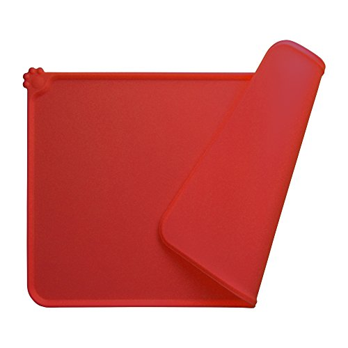 Guardians Dog Food Mat, Silicone Pet Feeding Mats, Non Slip Waterproof Cat Bowl Trays Food Container Placemat for Small Animals (18.5''x11.8'', Red) by Guardians (Image #6)