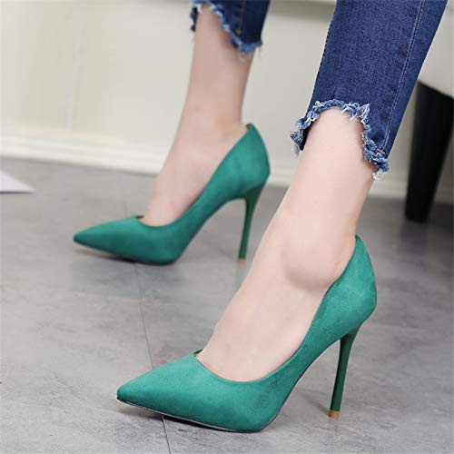 Professional Shallow Heels Suede Autumn Single Slender Commuter green Mouth High Sexy Shoes 10Cm Shoes Women'S Pointed KPHY wBOfqw