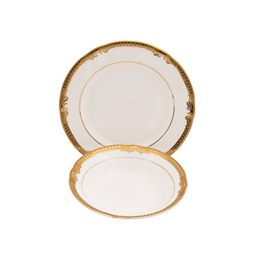 (IVY-GOLD BONE CHINA FRUITS AND BREAD & BUTTER SET)