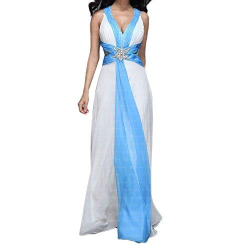 Für Weiß bei Kleid Design Damen Festamo Maxi Chiffon Ital Ball qOwWfHaIH6