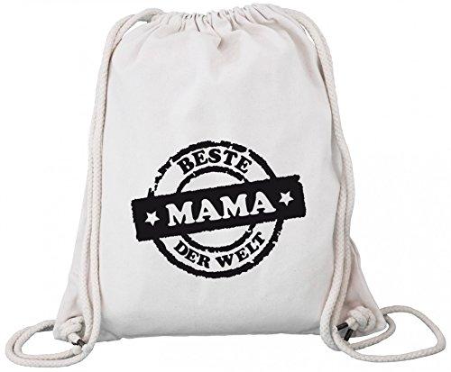 ShirtStreet Muttertag Premium Bio Baumwoll Turnbeutel Rucksack Stanley Stella Beste Mama der Welt Stempel Natural Feuh1pb7