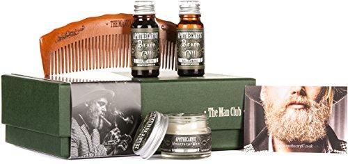 Apothicaire 87, la boîte de cadeau homme Club, (Original recette barbe huile 10ml; Vanille & mangue barbe huile 10ml; Moustache de 1893 cire 16 g & peigne de coiffeur de bambou)