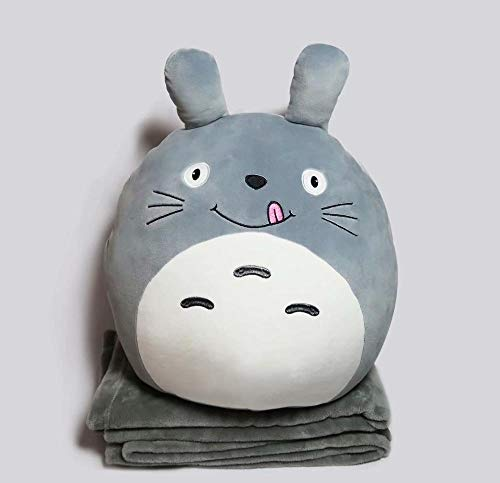 GOOGEE Stuffed Animal - Cute Fat Plush Animal Pillows Kawaii Cat Frog Penguin Dog Pig Toys 2 in 1 Pillow Blanket Gift for Children - Pillow Only Totoro - Big Fox Husky Hedgehog Owl Piglet