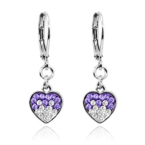 Dangle Earrings for Girls Jewelry WIth Crystal Heart Rhodium Plated- Fashion Jewelry Sets for Kids