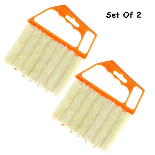 2PCS Blind Cleaner ,  Air Conditioner Mini Brush , Window Contacts Blade Cleaning Vertical Duster With 7 Slat Handheld Household Tool ,  Washable Dust Venetian Shutters For Housework , Office Yellow ()
