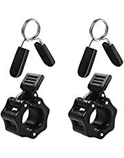 Twinspail 1 inch (25 mm) 2pcs Spring Clip Collars And 2pcs ABS Locking Barbell Collar, Pack of 4 Exercise Collars Barbell Clamps for Standard 1 inch Smooth Weight Bar, Curl Bar and Dumbbell Handle (Non-Threaded)