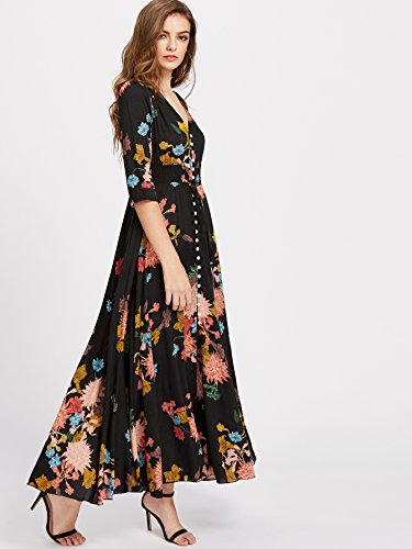 Milumia Women's Button Up Split Floral Print Flowy Party Maxi Dress Black and Yellow 4