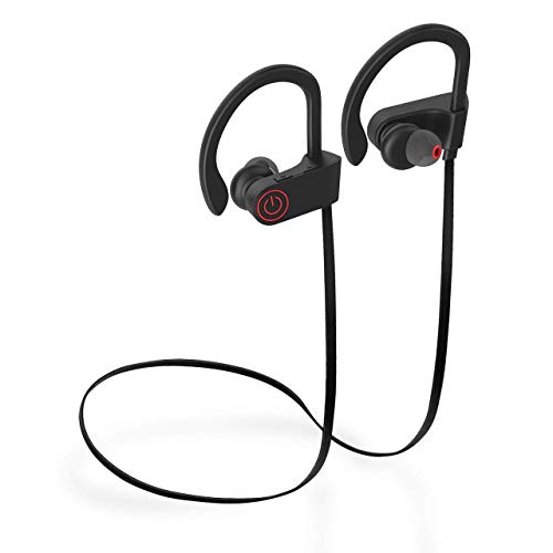 WaterBluetooth Headphones, 4.2 Wireless Waterproof Sport Earbuds with Mic Rechargeable HD Stereo Sweatproof IPX7 8 Hours Battery in Ear Earbuds Noise Canceling Headset Fit for Sports and Workout by JFONG