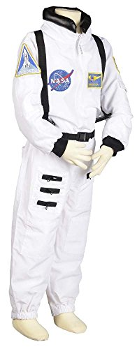 Aeromax Jr. Astronaut Suit with Embroidered Cap, White, size 12/14