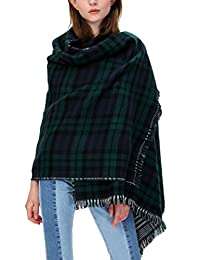 Women's Scarf Plaid Striped Scarves Shawls Blanket Poncho with Fringe Trims (Series 1 green)