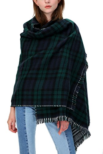 (Urban CoCo Women's Tartan Plaid Blanket Scarf Winter Checked Wrap Shawl (Series 1 green))