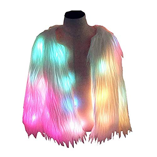 SHINYOU Women Faux Fur Coat LED Light Up Jacket Chirstmas Costume Gift Winter Coat (Multicolor, 120~135lb)]()