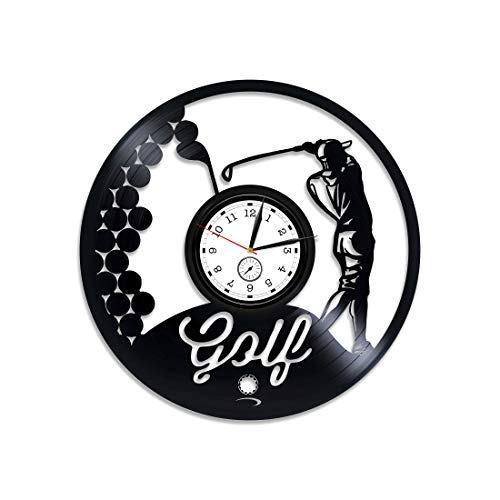 (Kovides Golf Vinyl Clock Golf Wall Clock Large Golf Vinyl Wall Clock Sport Gift for Him Golf Vinyl Record Wall Clock Gift for Dad Golf Clock Golf Game Golf Club 12 inch Clock New Year Gift)
