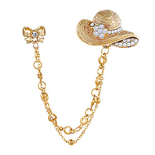 Brooch Pin, gLoaSublim Vintage Bow Straw Hat Shirt Suit Collar Tip Lapel Brooch Pin with Chain Tassel - Golden