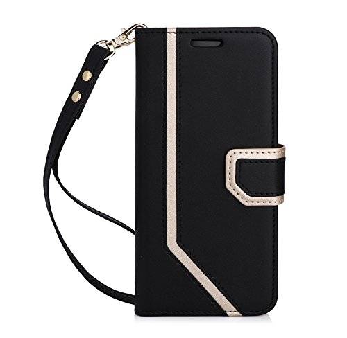 Galaxy S8 Case, Samsung Galaxy S8 Case FYY [RFID Blocking wallet] [Makeup Mirror] Premium PU Leather Samsung Galaxy S8 Wallet Case with Cosmetic Mirror and Hand Strap Black