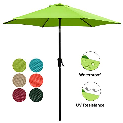 COBANA Patio Umbrella, 7.5 Outdoor Table Market Umbrella with Push Button Tilt Crank, 6 Ribs, Lime Green