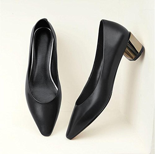 Zapatos Trabajo En Xzgc Señalaron Mujer Cuero Con De Negro Cómodos El pawaxdCZq8