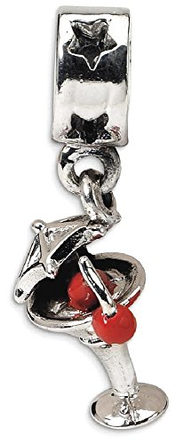 ICE CARATS 925 Sterling Silver Charm For Bracelet Enameled Martini Dangle Bead Food Drink