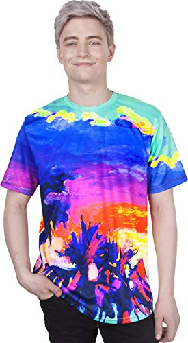 Urban Clothing Hand Printed Joy Multi Spiral Colorful Short Sleeve Mens - T-shirt Joy Adult