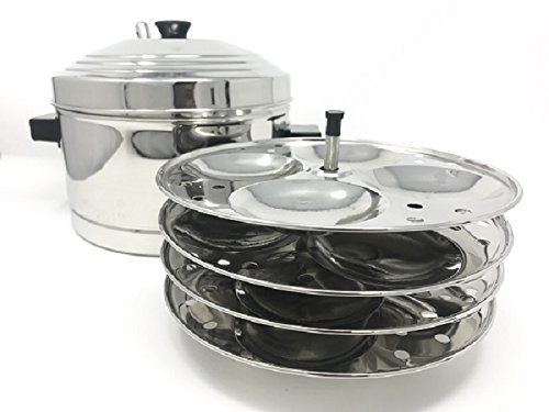 Tabakh IC-204 4-Rack Stainless Steel Idli Cooker with Strong Handles, Makes 16 Idlis by Tabakh
