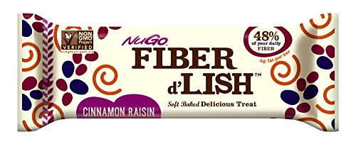 (NuGO Fiber d'Lish Cinnamon Raisin Nutrition Bar, 16 Count, 25.4 ounce)