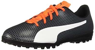 PUMA Unisex Spirit TT Jr Soccer Shoe, Black White-Shocking Orange, 1 M US Big Kid