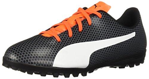 PUMA Unisex Spirit TT Jr Soccer Shoe, Black White-Shocking Orange, 4 M US Big Kid