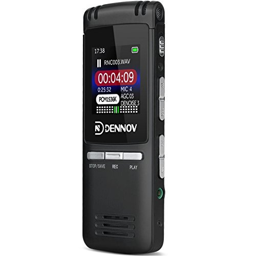 Dennov 8 GB Digital Voice Activated Rechargeable Recorder MP3 Music Player, 560 Hours, Auto Record, Noise Cancelling, 2018 Latest Version
