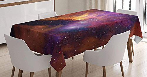 BoloHome Space Decorations Cotton Linen Tablecloth 60x60inch, Space Stars and Nebula Gas and Dust Cloud Celestial Solar Galacy System Print Purple Red Orange, Table Covers for Dinning Wedding Banquet by BoloHome