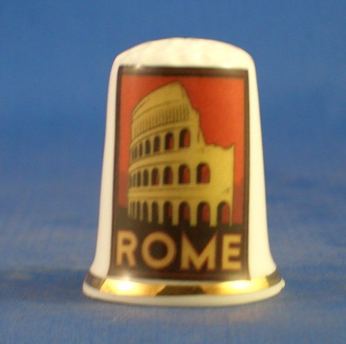 Birchcroft Porcelain China Collectable Thimble -- Travel Poster Series - Rome Birchcroft China